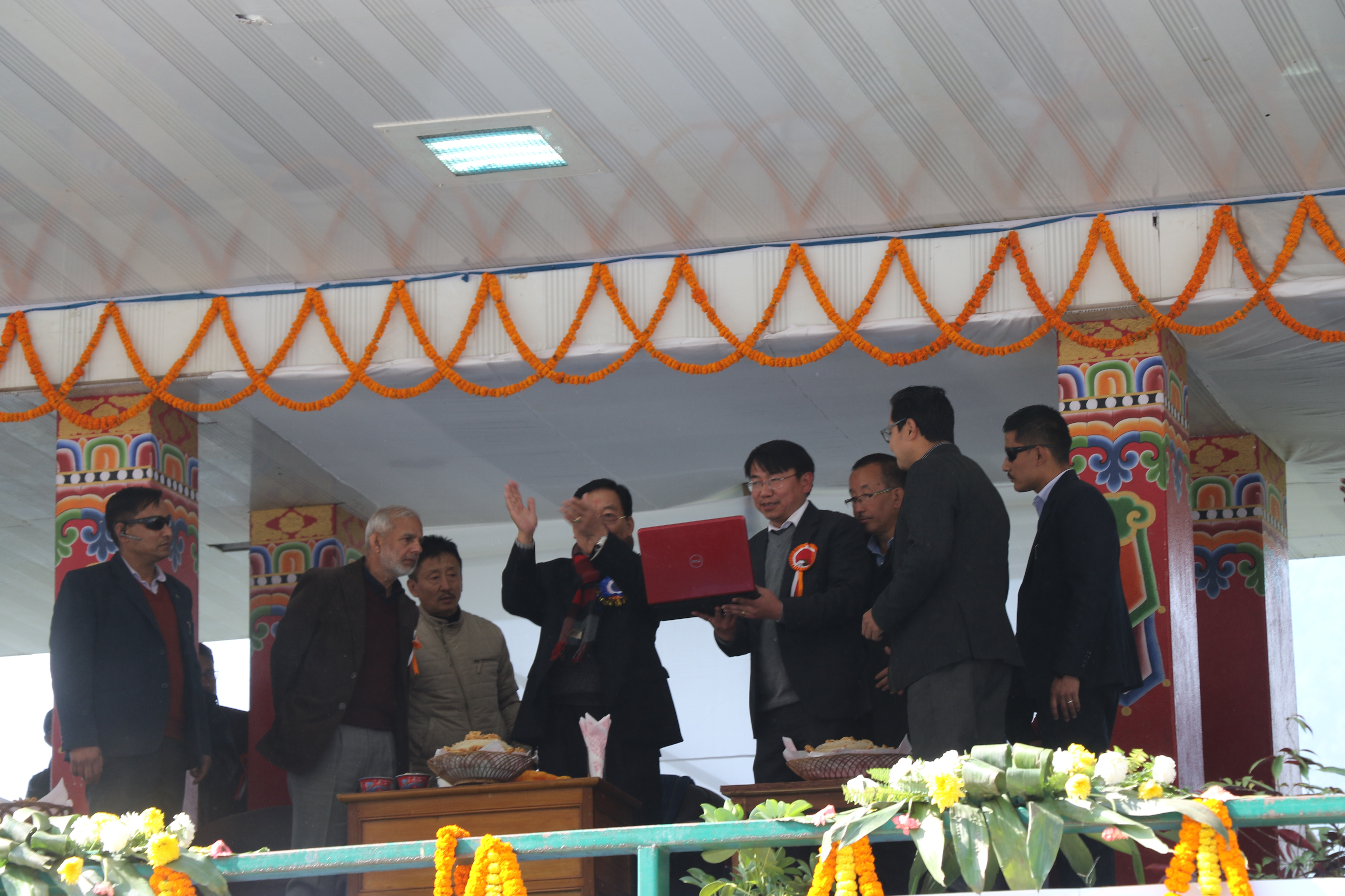 Hon'ble CM of Sikkim applauding during inauguration of website of North District Administration designed on S3WaaS platform @ 20/01/2019 at Mangan North Sikkim