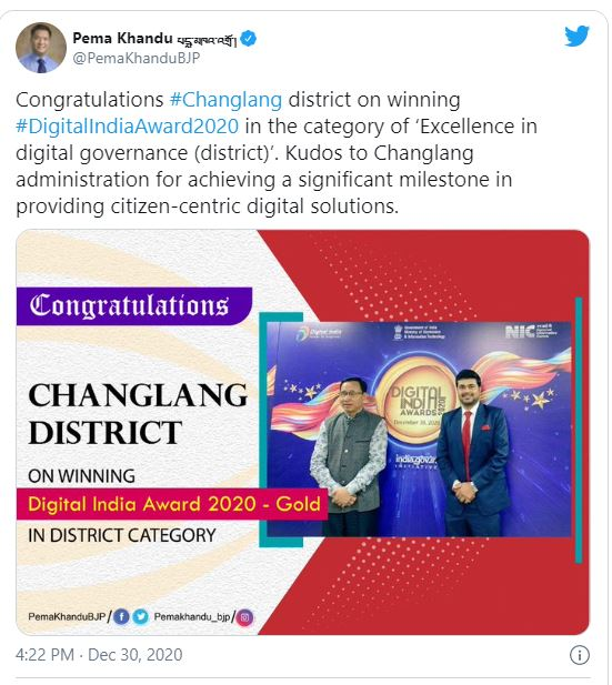 Chief Minister twitted congratulation to Changlang district for receiving GOLD Award in Digital India Awards 2020