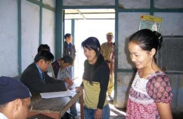 Inside polling booth