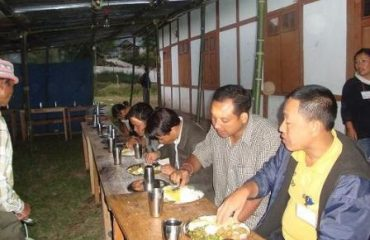 Lunch break for polling personnel