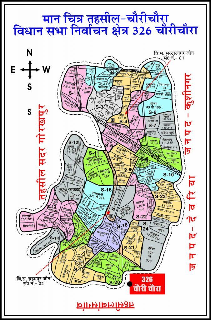 326 - चौरीचौरा निर्वाचन क्षेत्र का मैप