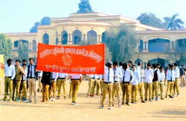Students of Jublee Inter College marching for the Voters Day