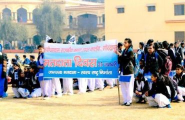 Rally by the school students on Voters Day2018