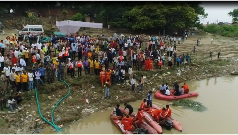 Mock Drill - Villagers and NDRF and Officials at flood site