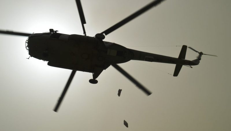 Dropping of Food Packets during Flood mockdrill