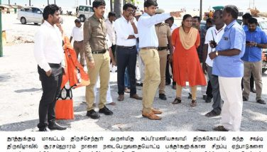 Collector Inspected the Precaution works for Kandha Shasti Festival at Subramaniyaswamy Temple in Tiruchendur