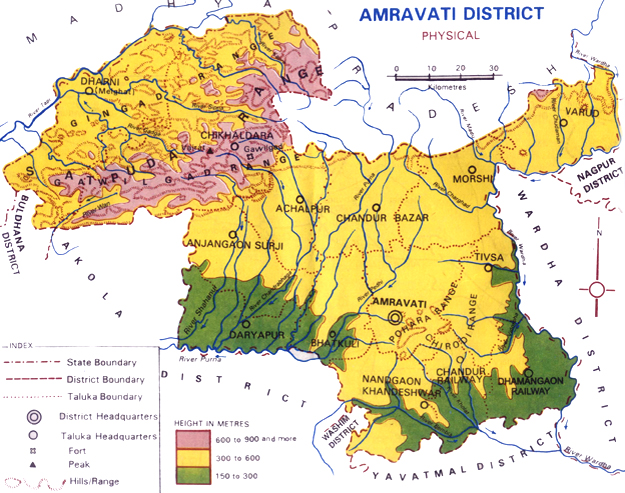 Amravati District Physical Map.