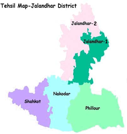 Tehsil Map of District Jalandhar