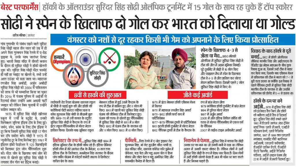 About Olympian Surinder Singh Sodhi