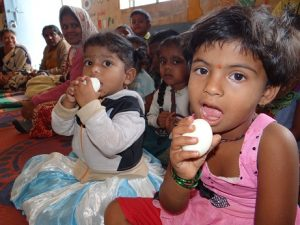 Children having food in Anganwadi