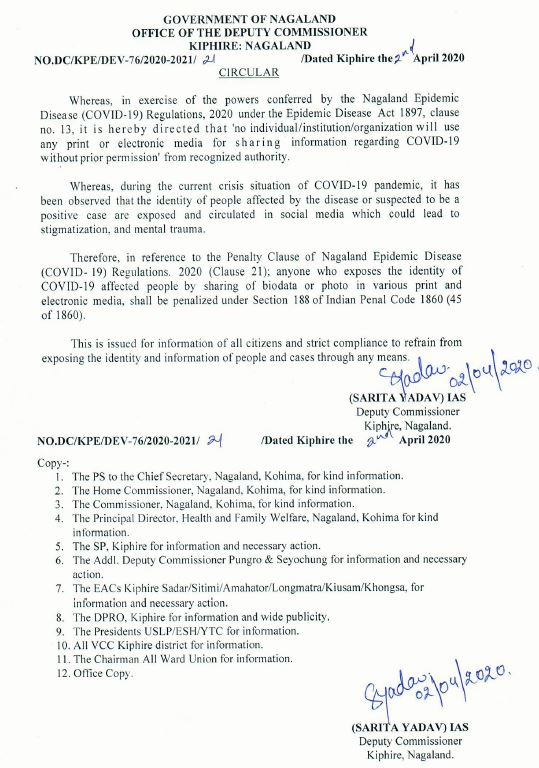 Order against dissemination of information of persons and rumours related to COVID-19