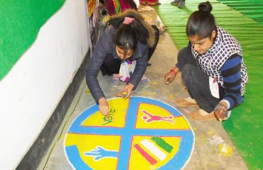 Rangoli Competition By Students On National Voters Day