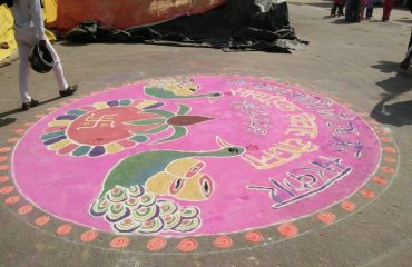 Rangoli Creation on Chief ministers comprehensive wedding Plan