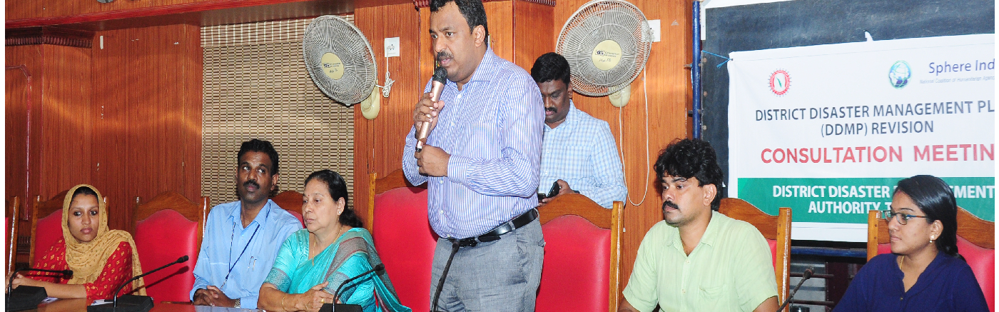 Collector S Shanawas speaks at the District Disaster Management Review meeting held at District Panchayat Hall
