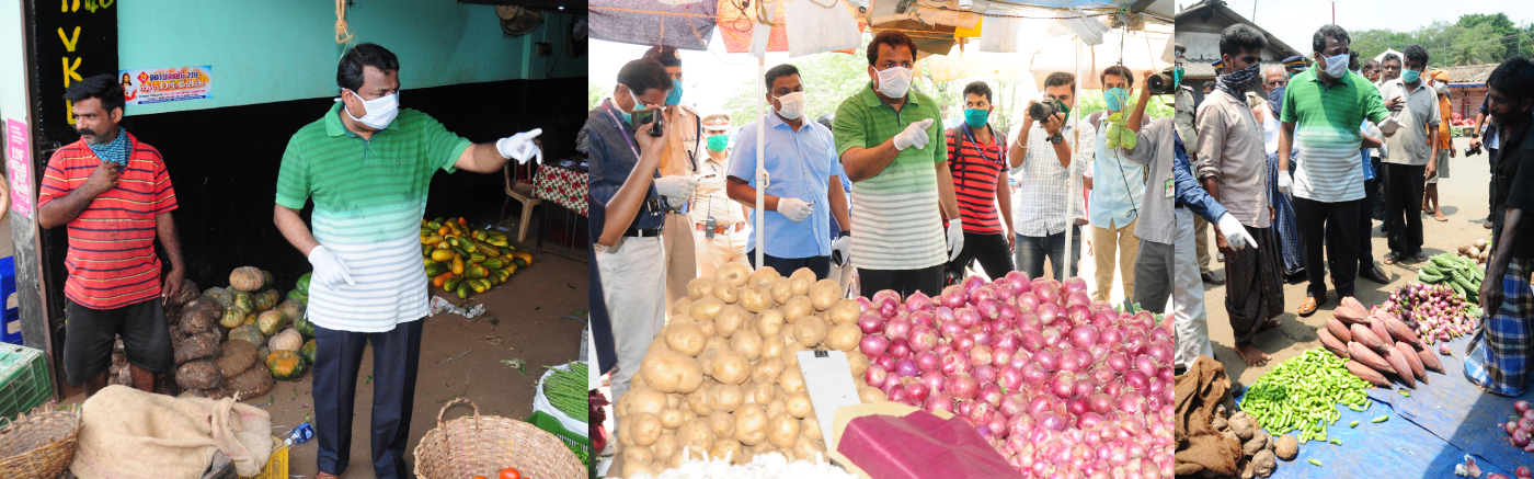 District Collector S Shanavas visited Thrissur Shaktan Vegetable Market to check the excessive consumption of vegetables -2020