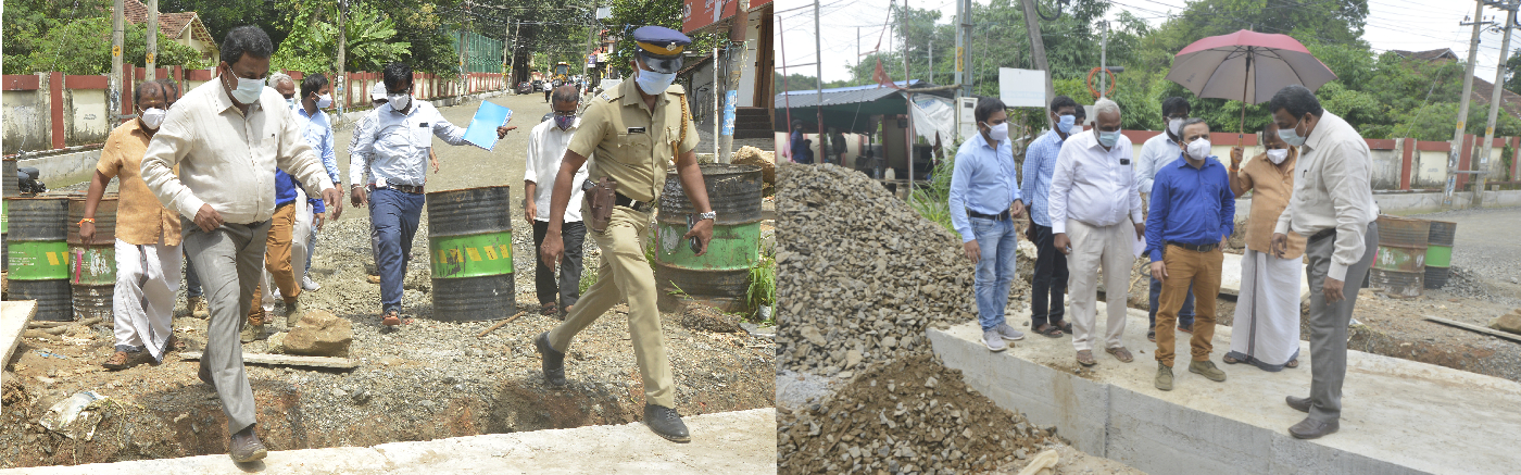 Collector S Shanavas inspects the construction progress of the canal at Mannuthi