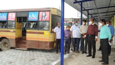 District Collector Inspected Temporary Bus Stand 20-10-2020