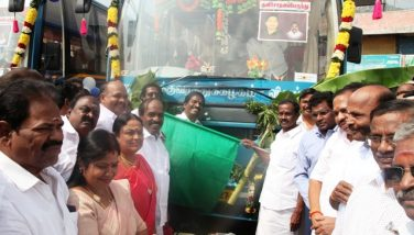 Honble HR&CE Minister Collector Flagged New AC Buses.
