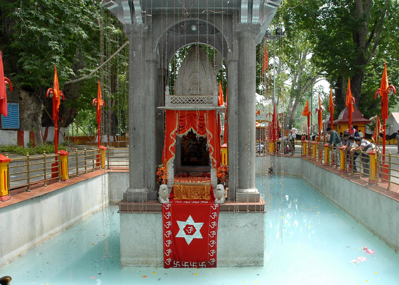 Kheer Bhawani temple in center of Pond