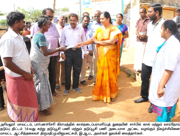 Collector giving vaccination for foot and mouth disease (komaari) for Livestock - Camp inaugurated by District Collector