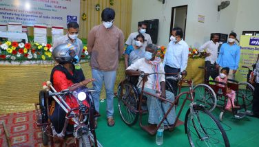 7-10-2021 DISTRICT COLLECTOR DISTRIBUTED TRY CYCLES AND OTHER INSTRUMENTS TO PHYCIALLY CHALLENGED PERSONS PRESS NOTE