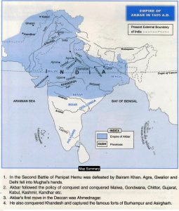 India at Akbar time 1605 Map