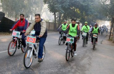 Staff in Cycling rally