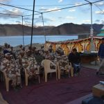 jawans waiting for Hon'ble PM's VC at Pangong