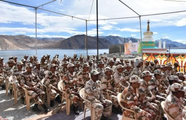 ITBP jawans in uniform watching the HPM's VC