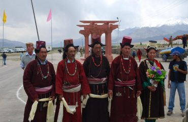 Ladakhi men in traditional dress during Sidhu Dharshan Festival
