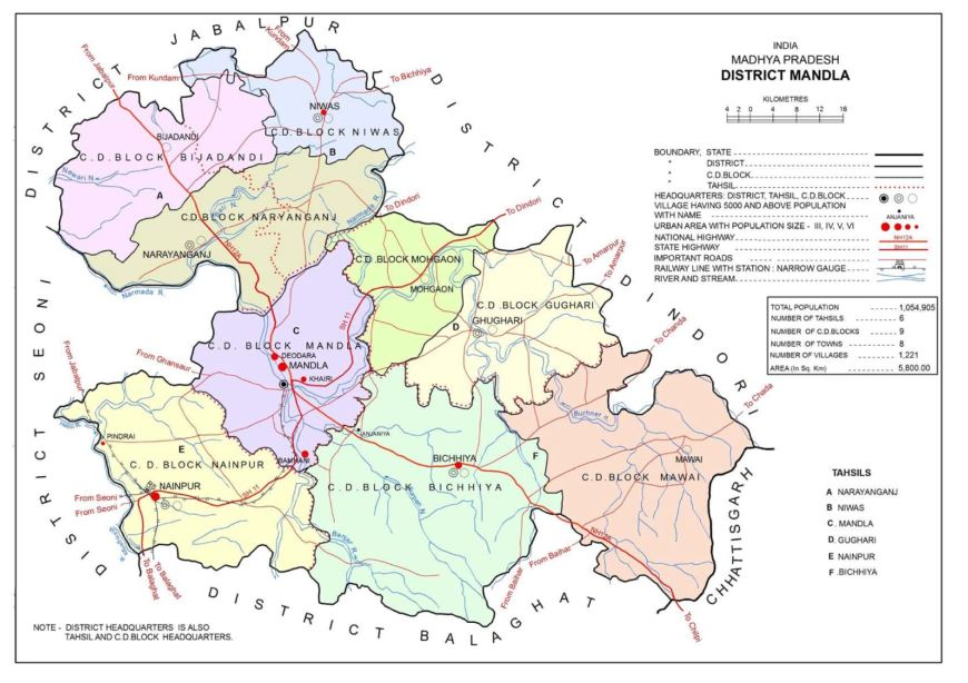 मंडला जिले का मैप