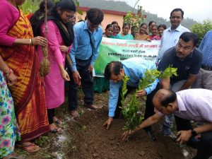 Plantation of fruit plant and inspection of the project (Gramya-2) in Gram Panchayat Rainsoli Talli by DM Pauri