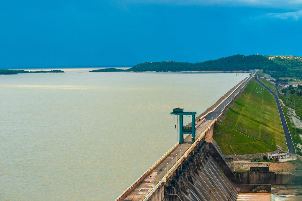 Hirakud Dam With reservoir