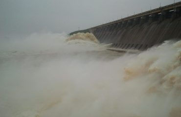 Hirakud Dam with open gate