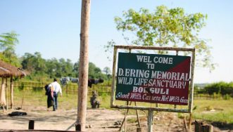 Welcome signboard at D. Ering Wild Life Sanctuary at Borguli
