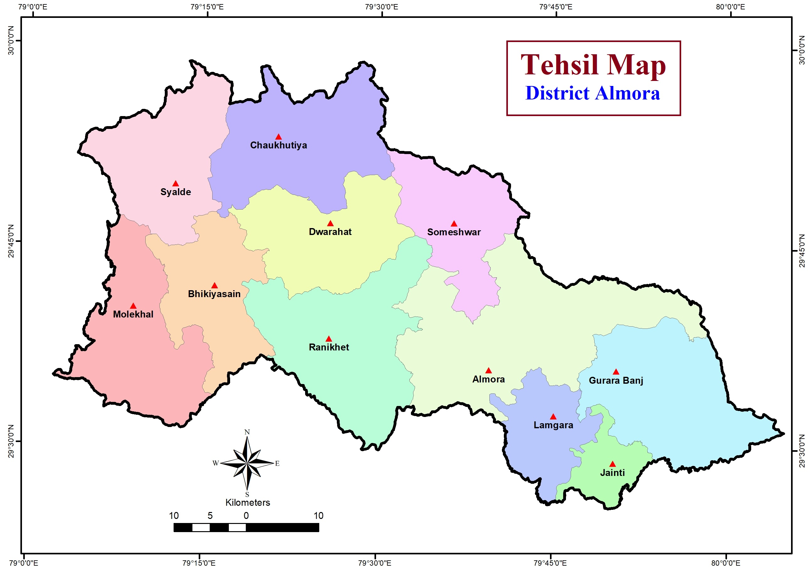 Almora District Map with tehsil