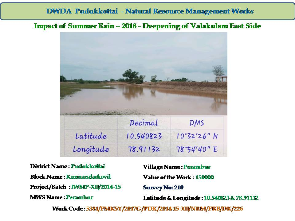Watershed Development - Deepening of Valakulam East side.