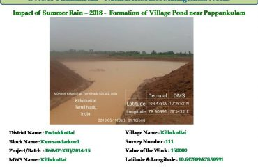 Watershed Development - Formation of Village Pond.