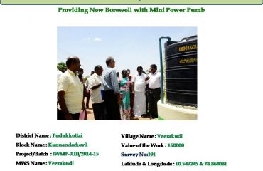Watershed Development - Providing New Borewell with Mini Power Pumb.