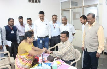 Checking of Officer at Blood Donation Camp