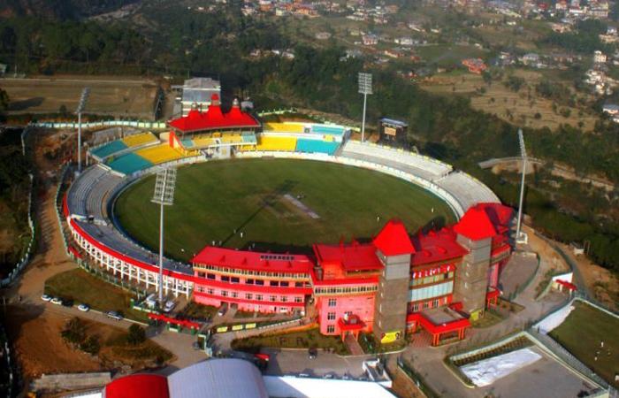 Aerial View of Cricket Stadium