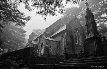 Foggy View of Church Mcleodganj