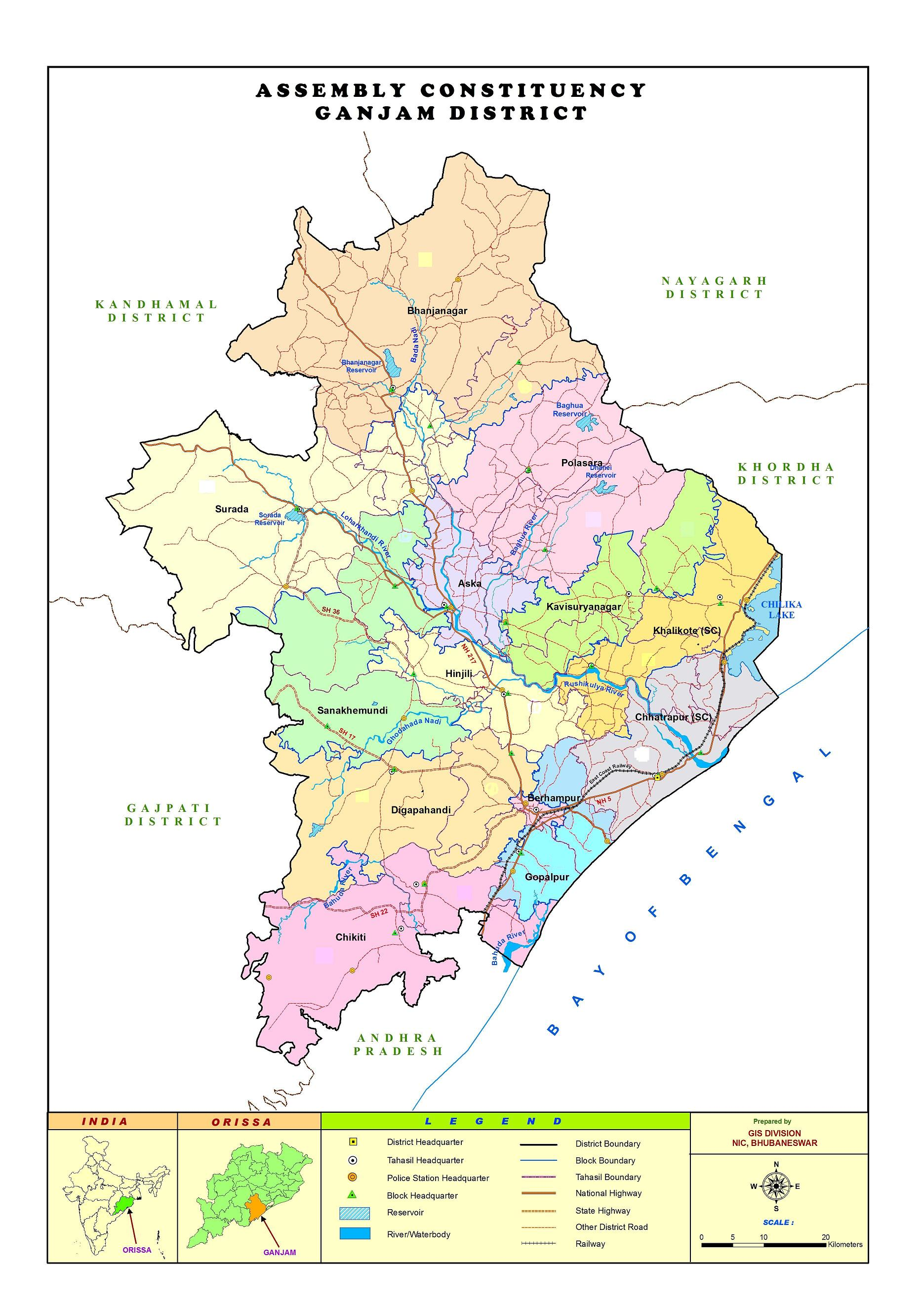 Map of District | District Ganjam, Government Of Odisha | India District Map on