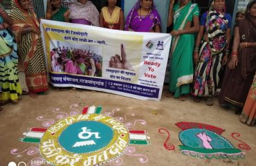 Beautiful rangoli made by shgs to show accessible election and pledged to support PWD VOTERS.