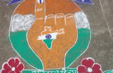 Rangoli Contest in Government Digvijay College under Voter AwarenessCampaign