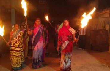Polling torch rally panchayat dangarMohla
