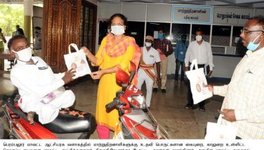 Distribution of face mask, sanitizer, gloves, etc. to Differently Abled as per the Hon'ble Tamil Nadu Chief Minister's order..