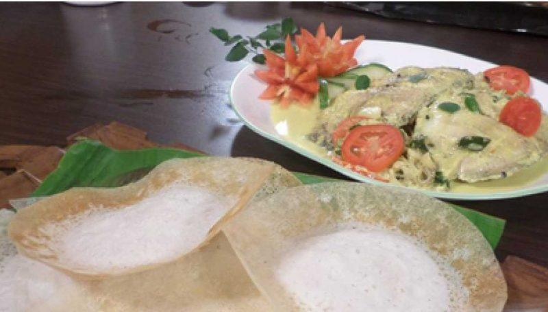 Appam and karimeen curry