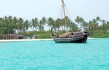 Boat on shallow sea