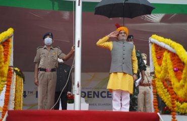 Administrator Sir hosting flag on stage